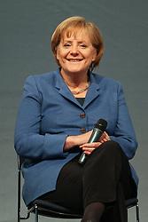 14.05.2010, Messe, Muenchen, GER, Oekt , Vortrag Angela Merkel, im Bild Angela Merkel (Bundeskanzlerin) lacht auf der Buehne, EXPA Pictures © 2010, PhotoCredit: EXPA/ nph/  Straubmeier / SPORTIDA PHOTO AGENCY