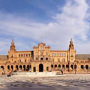 Famous Plaza de Espana, Sevilla, Spain. Old city landmark.