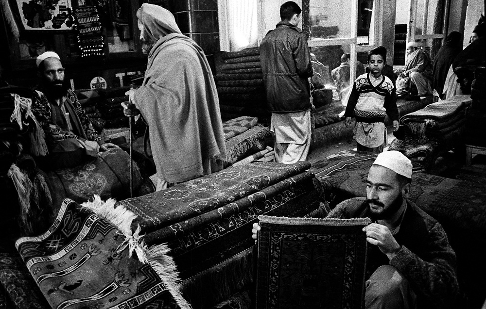 Afghan Carpet market Khyber Road Old City Peshawer Pakistan January 2002....