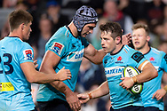 SYDNEY, AUSTRALIA - APRIL 27: Waratahs player Rob Simmons (5) congratulates Waratahs player Bernard Foley (10) on his try at round 11 of Super Rugby between NSW Waratahs and Sharks on April 27, 2019 at Western Sydney Stadium in NSW, Australia. (Photo by Speed Media/Icon Sportswire)