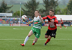 NEWTOWN, WALES - Saturday, May 2, 2015: The New Saint's Jamie Mullan in action against Newtown's Stef Edwards during the FAW Welsh Cup final match at Latham Park. (Pic by Ian Cook/Propaganda)