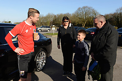 Connor meets Bristol City's Wade Elliott when he arrives for training - Photo mandatory by-line: Dougie Allward/JMP - Mobile: 07966 386802 - 01/04/2015 - SPORT - Football - Bristol - Bristol City Training Ground - HR Owen and SAM FM - Live like a footballer for a day