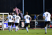 Bromley Forward Tobi Sho-Silva celebrates his goal 3-0 during the Vanarama National League match between Bromley FC and Wrexham FC at Hayes Lane, Bromley, United Kingdom on 8 April 2017. Photo by Jon Bromley.