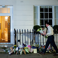 London, UK - 8 April 2013: Floral tributes are taken inside Margaret Thatcher residence in Chester Square in London. The former Prime Minister died at 87.