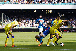 April 8, 2018 - Napoli, Napoli, Italy - Naples - Italy 08/04/2018.DRIES MERTENS of  S.S.C. NAPOLI   and INGLESE ROBERTO of CHIEVO VERONA  fights for the ball during SERIE A TIM  match between S.S.C. NAPOLI and CHIEVO VERONA  at Stadio San Paolo of Naples..Final scores S.S.C. NAPOLI - CHIEVO VERONA 2-1  (Credit Image: © Emanuele Sessa/Pacific Press via ZUMA Wire)