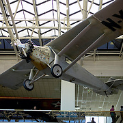 Spirt of St. Louis plane hangs overhead in the gallery at the Smithsonian National Air and Space Museum, Washington DC USA<br />