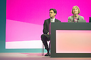 © Licensed to London News Pictures. 21/09/2014. Manchester, UK. Ed Miliband and Harriet Harmen onstage at the Labour Party Conference 2014 at the Manchester Convention Centre today 21 September 2014. Photo credit : Stephen Simpson/LNP
