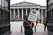 Mohammed Yeahya on The British museum picket line. PCS Budget Day Strikes were held all over London, followed by a rally outside the House of Commons. 20th March 2013.