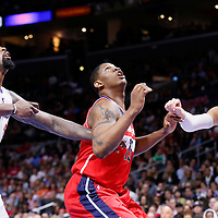 20 March 2015: Washington Wizards center Kevin Seraphin (13) vies for the rebound with Los Angeles Clippers center DeAndre Jordan (6) an Los Angeles Clippers forward Blake Griffin (32) during the Los Angeles Clippers 113-99 victory over the Washington Wizards, at the Staples Center, Los Angeles, California, USA.