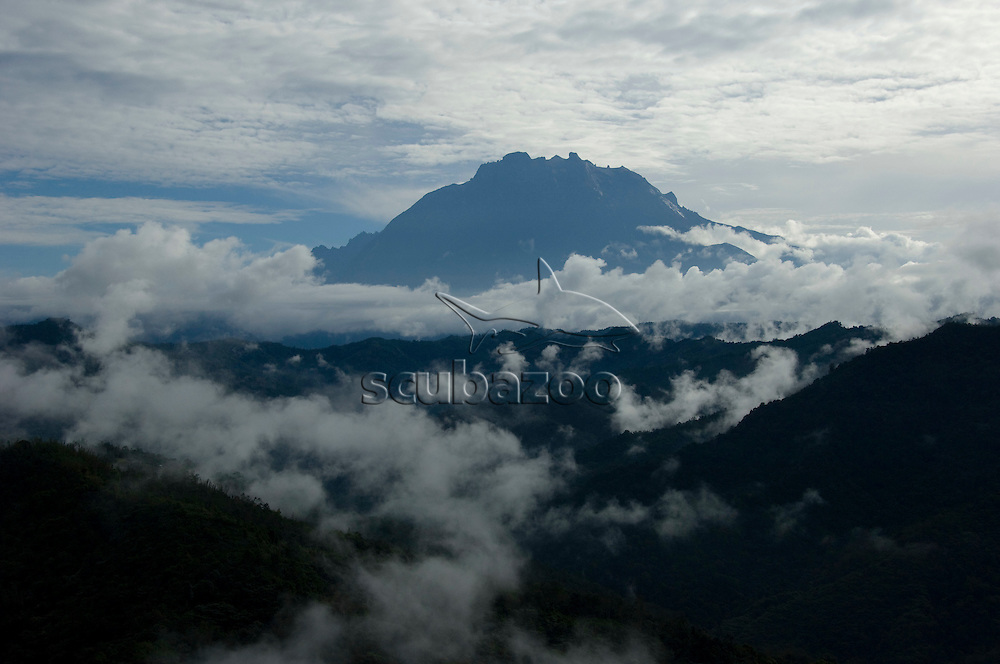 View of Mount Kinabalu in clouds, Sabah, Borneo, Malaysia.