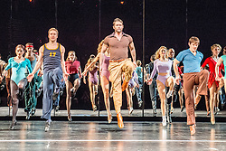 © Licensed to London News Pictures. 08/02/2013. London, UK. A Chorus Lineopened for first time in London season, since its first in 1976 won the Olivier Award for Best Musical. This full London revival of the Broadway Production A Chorus Line is being staged at the London Palladium from February 2013. The production is directed by Broadway and West End veteran director and choreographer Bob Avian. Avian was Michael Bennett's long term collaborator and his co-choreographer on the original production. Picture shows:  John Partridge as Zach. Photo credit: Tony Nandi/LNP