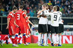 LEIPZIG, Nov. 16, 2018  Germany's players (R) celebrate scoring during an international friendly match between Germany and Russia in Leipzig, Germany, Nov. 15, 2018. Germany won 3-0. (Credit Image: © Kevin Voigt/Xinhua via ZUMA Wire)