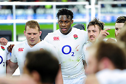 Maro Itoje of England looks on in a post-match huddle - Mandatory byline: Patrick Khachfe/JMP - 07966 386802 - 19/03/2016 - RUGBY UNION - Stade de France - Paris, France - France v England - RBS Six Nations.