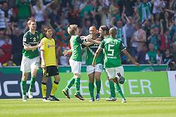07.05.2011, Weserstadion, Bremen, GER, 1.FBL, Werder Bremen vs Borussia Dortmund, im Bild 1: Mikael SILVESTRE ( Werder #16 ) li Marko Marin ( Werder #10 ) Per Mertesacker ( Werder #29 ) re Wesley (Bremen #5)  Torsten Frings ( Werder #22 )    EXPA Pictures © 2011, PhotoCredit: EXPA/ nph/  Kokenge       ****** out of GER / SWE / CRO  / BEL ******