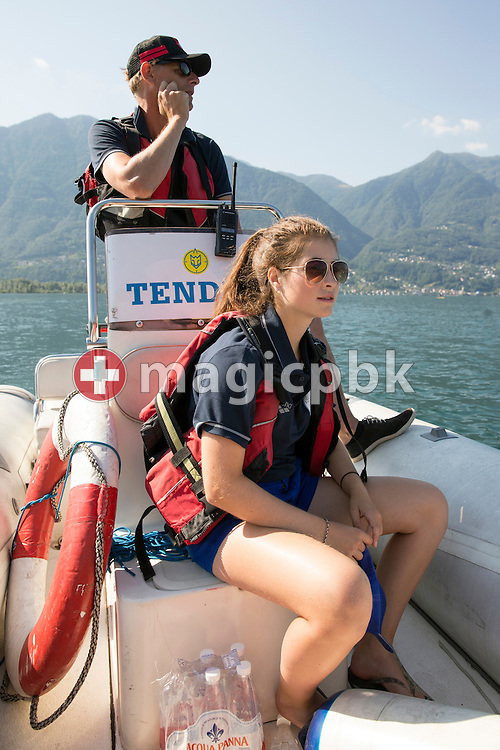 Steffen LIESS of the LOC and volunteer Patricia Coello on a boat supervise the Youth boys 5km race during the LEN European Junior Open Water Swimming Championships held in the lake Maggiore (Lago Maggiore) at the Centro sportivo nazionale della gioventu in Tenero, Switzerland, Saturday, July 11, 2015. (Photo by Patrick B. Kraemer / MAGICPBK)