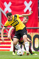BREDA - NAC Breda - Roda JC , Rat Verlegh stadion , Voetbal , Finale play-offs , seizoen 2014/2105 , 31-05-2015 , Roda JC speler Anco Jansen (r) in duel met NAC Breda speler Dirk Marcellis (r)