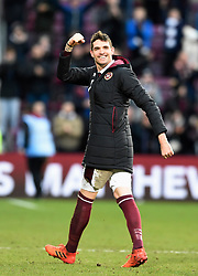 Hearts Kyle Lafferty celebrates after the final whistle of the Ladbrokes Scottish Premiership match at Tynecastle Stadium, Edinburgh.