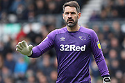 Derby County goalkeeper Scott Carson during the EFL Sky Bet Championship match between Derby County and Sheffield Wednesday at the Pride Park, Derby, England on 9 March 2019.