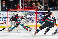 KELOWNA, CANADA - OCTOBER 5:  James Porter #1 of the Kelowna Rockets makes a save against the Victoria Royals on October 5, 2018 at Prospera Place in Kelowna, British Columbia, Canada.  (Photo by Marissa Baecker/Shoot the Breeze)  *** Local Caption ***