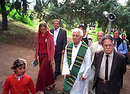 26 Settembre 2004.Don Bruno Nicolini (responsabile per la pastorale di Rom e Sinti, in processione  con  rom e sinti al Santuario del  Divino amore..Mr. Bruno Nicolini (responsible for the pastoral one of Rom and Sinti), in procession with rom and sinti in the Sanctuary of the Divino Amore