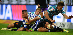 Cape Town-180921- Wastern Province centre Damien Willemse tackled by Kyle Steyn  of Tafel lager Griquas in the Currie Cup Game played at Newlands Stadium .Photographs:Phando Jikelo/African News Agency/ANA