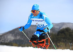 Kazakhstan's Sergey Ussoltsev competes in the Men's 7.5km, Sitting Cross Country Skiing, at the Alpensia Biathlon Centre during day eight of the PyeongChang 2018 Winter Paralympics in South Korea
