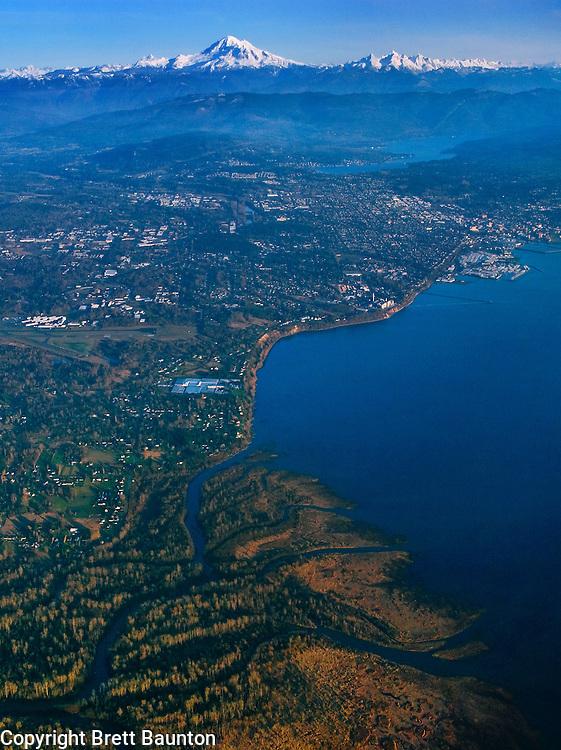 Mt. Baker, Nooksack River Delta, Bellingham, Washington, Vertical