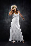 full body view of a Bride with mask - model release available on black background