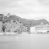 Catalina Island black and white panorama picture with Avalon Bay, Catalina Casino and mountains