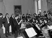 28/10/1985<br /> 10/28/1985<br /> 28 October 1985<br /> Launch of Gaisce The Presidents Award at Aras an Uachtarain. President Dr. Patrick Hillery launched the new national youth award scheme to be the nations highest award to Irish young people aged 15-25. Picture shows President Hillery  with the Rathfarnham Band.  Taoiseach Garret FitzGerald to the left of conductor.