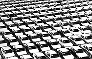 Nissan automobiles, bound for the USA, just before being loaded onto a freighter at Oppama, Japan.