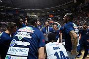 team fortitude , time out .  Antimo Martino<br /> Legabasket Serie A 2019-2020<br /> 11° Giornata - Andata - 01/12/2019 <br /> Dolomiti Energia Trentino-Happy Casa 78-67 <br /> Trento BLM Group Arena30/11/2019 <br /> Foto GiulioCiamillo/Ciamillo