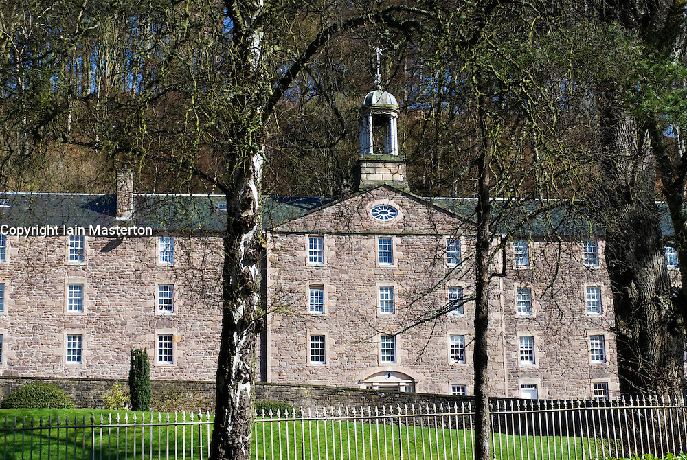 Historic buildings at New Lanark UNESCO World Heritage site in Scotland United Kingdom