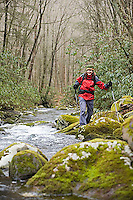Young woman hiking in Great Smokies National Park, North Carolina..MR code: 052