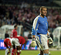 Photo. Jed Wee.<br /> Poland v England, World Cup Qualifier, Stadion Slaski, 08/09/2004.<br /> England's new goalkeeper Paul Robinson (R) is powerless to stop the Polish equaliser.<br /> <br /> NORWAY ONLY