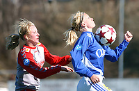 Fotball toppserien kvinner 16.04.05, Kattem - Team Strømmen 0-1, Tina Jørgensen og Connie Johansson<br /> <br /> Foto: Carl-Erik Eriksson, Digitalsport