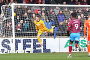 Scunthorpe United goalkeeper Matthew Gilks (1) makes a save during the EFL Sky Bet League 1 match between Scunthorpe United and Shrewsbury Town at Glanford Park, Scunthorpe, England on 17 March 2018. Picture by Mick Atkins.