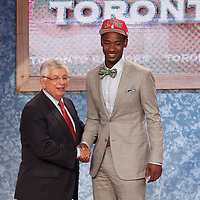 28 June 2012: Terrence Ross, picked up by the Toronto Raptors, poses with David Stern during the 2012 NBA Draft, at the Prudential Center, Newark, New Jersey.