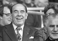 The Minister for Local Government Jim Tully,TD (Labour) at the 1976 All-Ireland football final at Croke Park.<br /> (Part of the Independent Newspapers Ireland/NLI Collection)