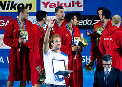 Best goalkeeper Stefano Tempesti of Italy at the victory ceremony after the Men's  Waterpolo Final match between National teams of Serbia and Spain during the 13th FINA World Championships Roma 2009, on August 1, 2009, at the Stadio del Nuoto,  in Foro Italico, Rome, Italy. Serbia won after penalties shootout 14:13.  (Photo by Vid Ponikvar / Sportida)