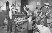 Spitalfields silk workers winding and reeling silk , London, England, late 19th century. This enclave of the silk industry was founded by Huguenot refugees from France after Louis XIV's Revocation of the Edict of Nantes (1685). Engraving, 1893.