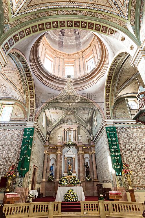 Interior of the Parroquia de San Pedro Apóstol church or Saint Paul the Apostle provincial church in Mineral de Pozos, Guanajuato, Mexico.