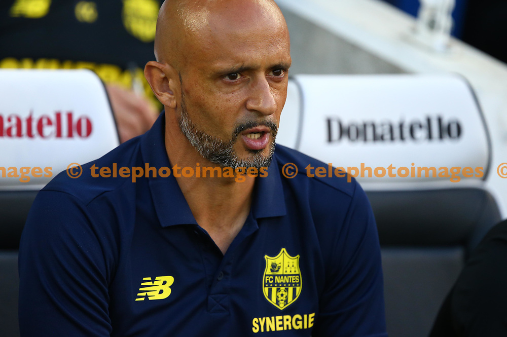 FC Nantes manager Miguel Cardoso during the pre season friendly between Brighton and Hove Albion and FC Nantes at the American Express Community Stadium in Brighton. 03 Aug 2018