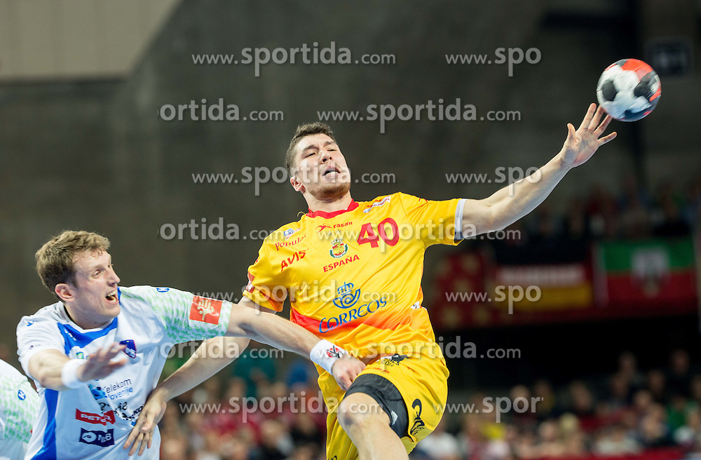 David Miklavcic of Slovenia vs Alex Dujshebaev of Spain during handball match between National teams of Slovenia and Spain on Day 4 in Preliminary Round of Men's EHF EURO 2016, on January 18, 2016 in Centennial Hall, Wroclaw, Poland. Photo by Vid Ponikvar / Sportida