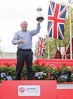 Brendan Foster during the presentation for his lifetime achievement award. The Virgin Money London Marathon, 23rd April 2017.<br /> <br /> Photo: Ben Queenborough for Virgin Money London Marathon<br /> <br /> For further information: media@londonmarathonevents.co.uk