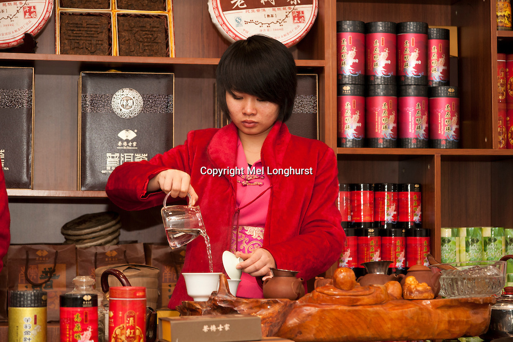 Chinese woman performing a tea ceremony, Kunming, Yunnan Province, China