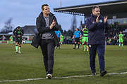 Forest Green Rovers manager, Mark Cooper and Forest Green Rovers assistant manager, Scott Lindsey applaud the fans at the end of the match during the EFL Sky Bet League 2 match between Forest Green Rovers and Yeovil Town at the New Lawn, Forest Green, United Kingdom on 16 February 2019.