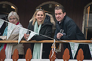 Greater London. United Kingdom, Cambridge Supporters, University Boat Races , Cambridge University vs Oxford University. Putney to Mortlake,  Championship Course, River Thames, London. <br /> <br /> Saturday  24.03.18<br /> <br /> [Mandatory Credit  Intersport Images]