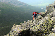 Jared Leonard picks his way up the Cathedral Trail on Mt Katahdin in Maine's Baxter State Park.  Mt Katahdin is the highest point in Maine and the northern terminus of the Appalachian Trail.  Loenard was climbing to celebrate John Walcott's (not pictured) 60th birthday.