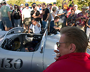 Scott Brimm does his best James Dean impression for the fans who joined the 50th anniversary remembrance of the actors' untimely death at Jack Ranch Cafe in Cholame, Ca. Sept. 30, 2005.